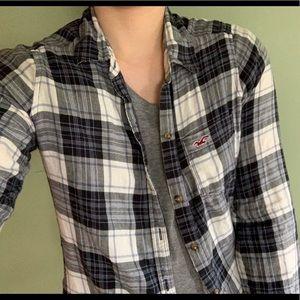 Hollister Blue Checkered Flannel Shirt